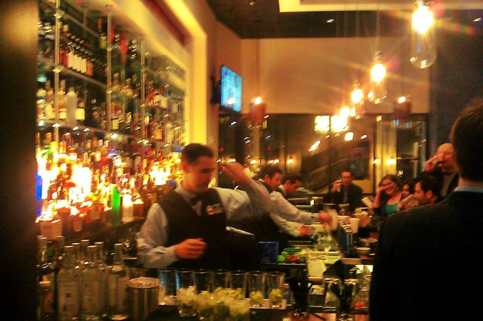 bustling bar at fogo santanta row